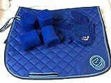 Equipride Ensemble de tapis de selle avec assorti Fly Veil et bandages Bleu roi