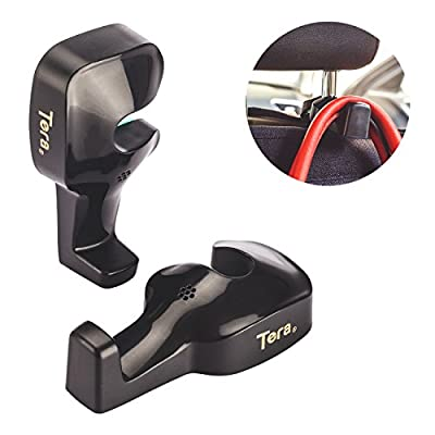 Tera® 1 Paar Kunststoff Auto Kopfstütze Kleiderhaken Haken Kleiderbügel Spitzhaken Aufhänger für Kleidung Taschen Einkaufstüten Jacken Mäntel ( Max Belastung: nicht mehr als 8kg ) Schwarz