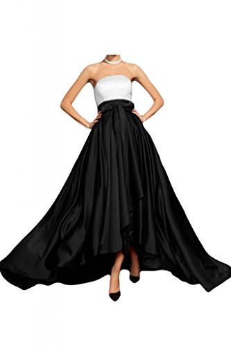 Gorgeous Bride Fashion Traegerlos Empire Satin Schleppe Lang Brautjungfernkleid Abendkleid Festkleid Schwarz