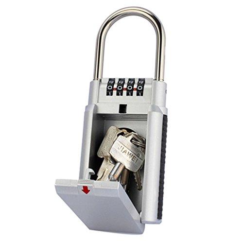 Coffre-fort Tyon Clé Coffre-fort à clés avec cadenas à combinaison à 4chiffres Code, branches,, Key Lock Boîte en acier inoxydable intérieur/extérieur Noir et Argent SAFETYON
