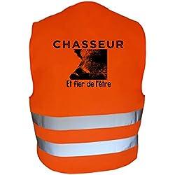 AtooDog Gilet de Chasse Fluo réfléchissant, Chasseur et Fier de l'être, Sanglier (XL, 228)