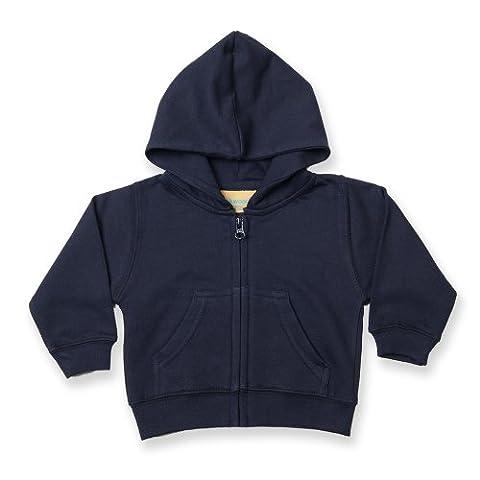 Larkwood - Sweatshirt à capuche et fermeture zippée 100% coton - Bébé et enfant (12-18 mois) (Bleu marine)