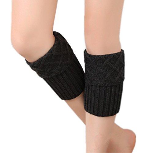 HITOP Damen Stiefel Socken Stricken Stulpen Diamantgitter Beinlinge Weihnachten Socks Boot Abdeckung (Schwarz)