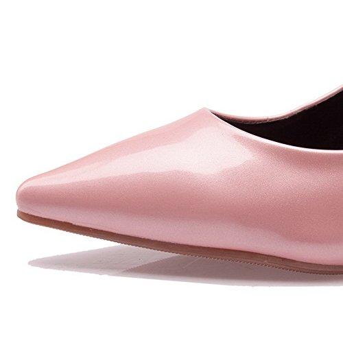 VogueZone009 Donna Tacco Medio Chiodato Tirare Pelle Di Maiale Scarpe A Punta Punta Chiusa Ballerine Rosa