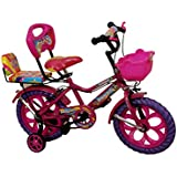"""Rising India 14"""" Pink Kids Bicycle For 3-5 Years Double Seated With Basket And Side Wheel."""