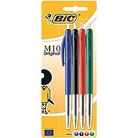 BIC M10 Clic Stylo-bille Pointe moyenne 1,0 mm Noir/Bleu/Rouge/Vert