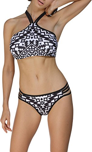 Damen Bikini Bustier Bademode Badeanzug Neckholder Necktop Slip Top Cut Outs Paisley Weiß-Schwarz 46/48 (Etikett XXL) (Strass Ärmelloses Top Akzent,)