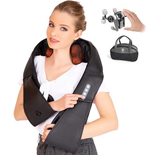 Dispositivo per effettuare massaggi Shiatsu su nuca, schiena e spalle con funzione riscaldante di RelaxxNow. Dispositivo massaggiatore RXM500 consigliato da Britta Steffen, 10 anni di garanzia
