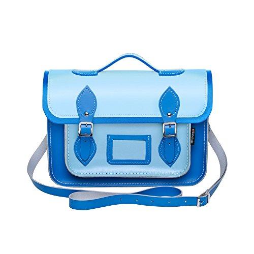 Zatchels Mag Dots - Sac cartable en cuir bicolore avec poignée de transport (Fabrication britannique à la main) - Femme Bleu/Bleu pâle