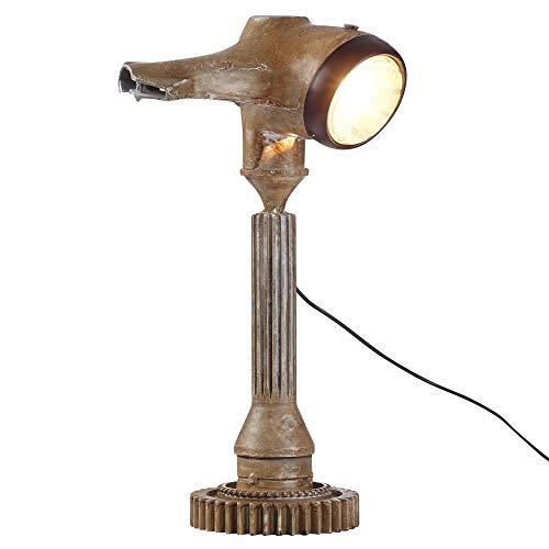 WOHNLING Tischlampe WL3.123 Braun 57cm Eisen Stehlampe Vintage Nostalgie Style | Roller-Retro Design Nachttischleuchte | Industrial Lampe E27 Fassung Metall | Tischleuchte mit griechischem Flair -