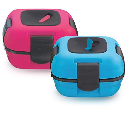 Pinnacle Thermoware Lunchbox für Kinder & Erwachsene 2er Set - Auslaufsicher mit Hitze Ablassventil und Edelstahleinsatz - Mittagessen to go für die Schule, Büro und Universität (Blau-rosa) - Rosa Erwachsenen-lunch-box