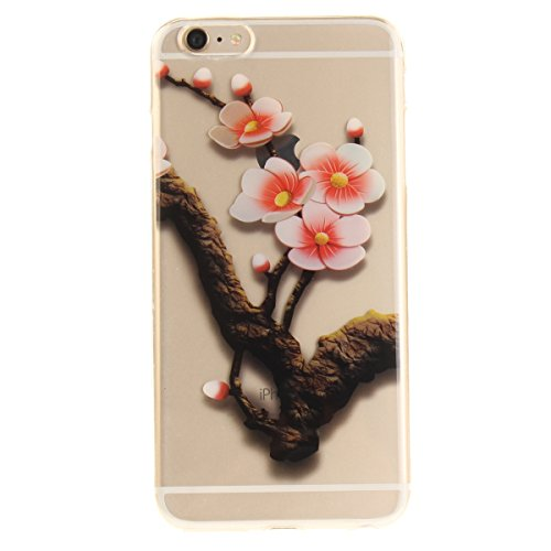 iPhone 6S Plus Handyhülle,iPhone 6 Plus Transparent Hülle,JAWSEU Schön Pink Blumen Muster Premium Weich Backcover Schutzhülle Durchsichtig Flexibel Klar Transparent Gel Silikon Tpu Hülle Superdünn Sto Pink Blumen#1