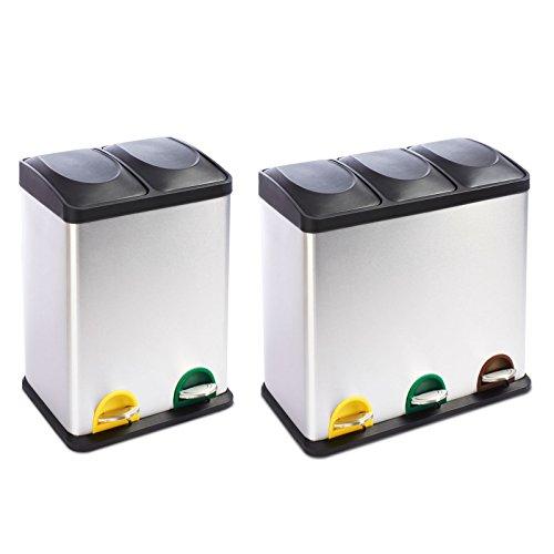 casa pura Mülleimer Trennsystem Brandon | Testurteil Gut | Treteimer aus Edelstahl | Abfalleimer für die Mülltrennung in der Küche, Mülltrennsystem | 2 Größen (3 Kammern, 54L Fassungsvermögen)
