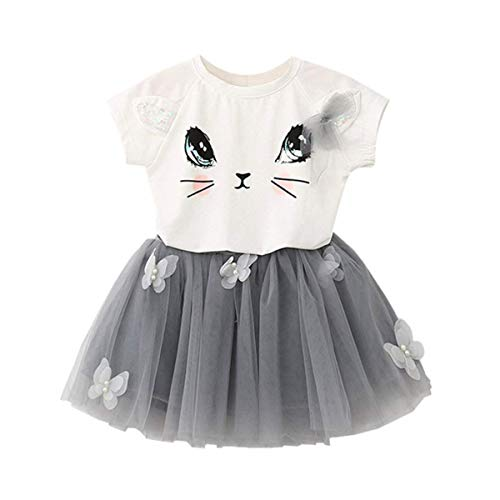 eidung Set Katze Muster Tops T-Shirt + Schmetterling Tutu Rock für Kinder 2-7 Jahre Alt (110, Weiß) ()