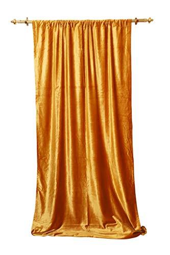 beddingNdecor Samt Vorhang-Paneele-Verdunkeln, Blackout gefüttert Samt Panel, Vorhänge für Wohnzimmer   Schlafzimmer   Home Theater   Fenster Behandlung Vorhänge   Outdoor Innen   50W x 96L Gold - Gefüttert-panels