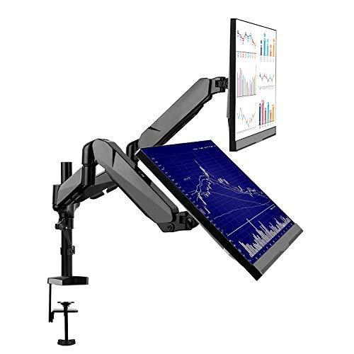 SIMBR Monitor Halterung 2 Monitore, Monitor Tischhalterung, Monitor Halter, schwenkbare neigbare Bildschirmhalterung mit Federarm von 15 bis 27 Zoll, max. Tragfähigkeit 8kg