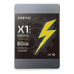 DREVO X1 Series 60 Go SSD 2,5 pouces Disque Flash SATA III MLC Vitesse de lecture 500 Mo/ S d'écriture 90 Mo / S