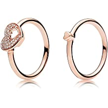 Puzzle Heart Ring Set Rose gold plated 925 Sterling Silver