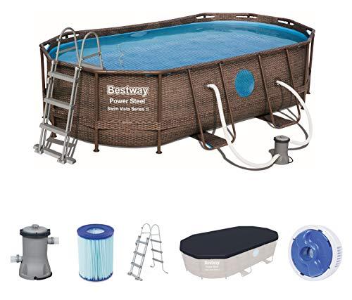 Bestway Power Steel Swim Vista Deluxe Frame Pool oval Komplett-Set mit stabilem Stahlrahmen, Rattanoptik, 424x250x100 cm