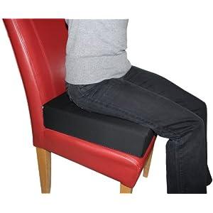 LUplus Orthopädische Sitzerhöhung 40x40x Höhe 10 cm mit Bezug 100% Baumwolle, schwarz