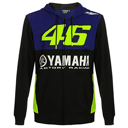 2019 Valentino Rossi VR46 Sweat à Capuche pour Homme Officiel Yamaha Factory Racing, Bleu, Mens (L) 110cm/43 inch Chest