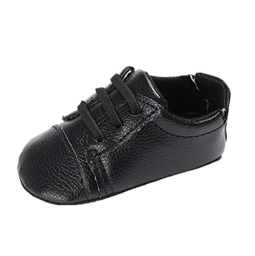 Baby Schuhe Für 0-18 Monate,Auxma Baby Jungen Mädchen PU Leder Schuhe Soft Sohle Prewalker Sneakers (11cm/3-6 M, Schwarz) 6m Schuhe