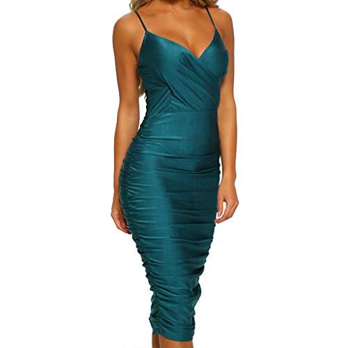 LILIHOT Ärmelloses Kleid für Frauen mit V-Ausschnitt Damen Kleid Elegant Böhmischen Strand Maxi Kleid Casual aus der Schulter ärmellose Pailletten Kleid glänzend eng hoch Taille Kleid Abendkleid -