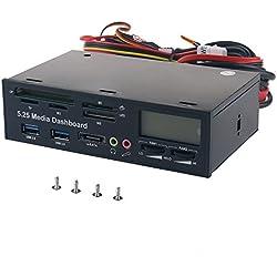 """WANLONGXIN WLX-525F-UK Panel de Instrumentos Multifunción de 5.25 """"Panel Frontal LCD, Con Puerto USB 3.0 Puerto, E-SATA Puerto, Lector de Tarjetas, Termómetro, Controlador de Ventilador"""