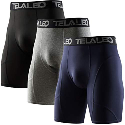 TELALEO Herren Kompressionshose lang Cool Dry Sport Tights, Herren, 3 Pack Black/Grey/Navy, X-Large (3 Basketball Leggings 4)