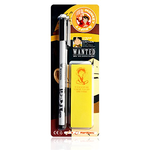Papapanda Gel Pen et Sticky Marker Set pour One Piece Ruffy Lufy Stylo Rollerball Gel Notes autocollantes Jolly Roger Chapeau de paille Pirate Anime Note autocollant Ink Stick Tab Marqueur Marker