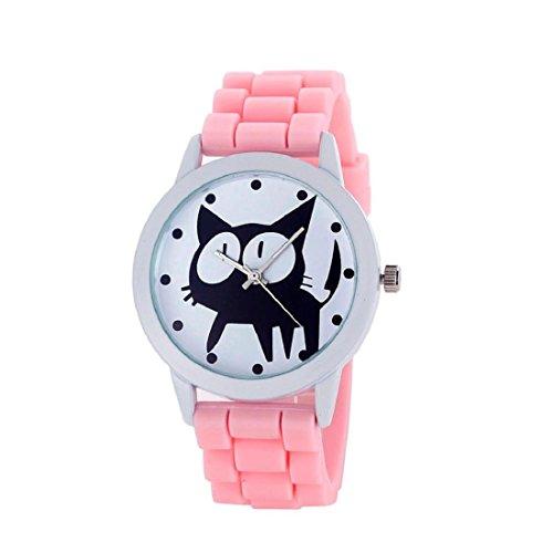Tongshi las mujeres del silicón del gatito de cuarzo movimiento del reloj (Rosa)