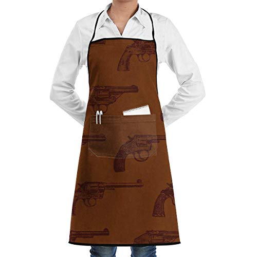 Western Revolvers Grill Aprons Kitchen Chef Bib - Professional for BBQ Baking Cooking for Men Women Pockets Chef Aprons - Womens Western Bekleidung