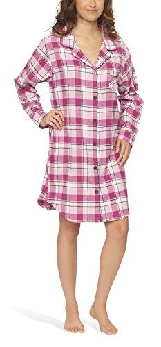 Moonline Flanell-Nachthemd Nachtkleid Nachtwäsche Sleepshirt für Damen, Farbe:pink, Größe:48/50