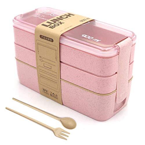 LAKIND Lunchbox Brotdose Bento Box Vesperdose für Kinder und Erwachsene Mit 3 Fächern Auslaufsicher Mikrowelle Gefertigt aus Weizen Biologisch Abbaubar Plastikfrei BPA Frei(rosa) - Rosa Erwachsenen-lunch-box