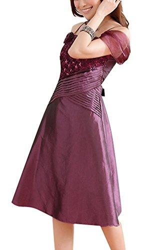 SMITHROAD Damen Satin Kleid Cocktailkleid Knielang Abendkleid Ballkleid mit Träger Blume und Pailletten Dekor 3 Farben Gr.34-48 Lila