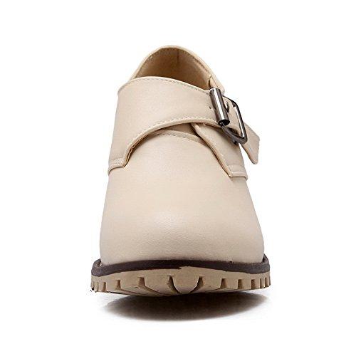 BalaMasa da donna, con tacco Kitten Imitated pompe con fibbia, in pelle, per scarpe Beige