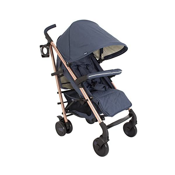 My Babiie Billie Faiers MB51 Rose Navy Stroller  Suitable from birth to maximum 15kg Extendable 3 position canopy Lockable swivel front wheels 1