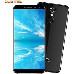 OUKITEL C8 - 5,5 pollici (Rapporto 18: 9 Visione Completa) 3G Smartphone Libera Android 7.0, Batteria 3000mAh, Quad Core da 1.3GHz 2GB di RAM 16GB ROM, Fotocamera da 5MP + 13MP, Impronte Digitali Dual SIM Fashionable Telefonino - Nero