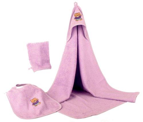 Baby Badeset Frottee 3tlg Kapuzenhandtuch Lätzchen Waschhandschuh lila