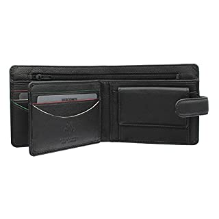 Visconti Augusta Collection SAWGRASS Bi Fold Leather Wallet AG17 Black