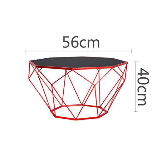 Preisvergleich Produktbild Tische Nordic Kreative Möbel Runde Glas Couchtisch Wohnzimmer Persönlichkeit Eisen Tisch Modernen Minimalistischen Eisen Glas Sofa Beistelltisch (Farbe : C,  größe : 56 * 40cm)