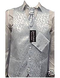 Qualité motif floral mariage bleu gilet de jeu des hommes(ref:floral blue waistcoat)