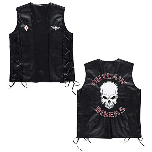 Kostüm Herren Outlaw - Widmann 49007 - Biker Weste Outlaw im Lederlook