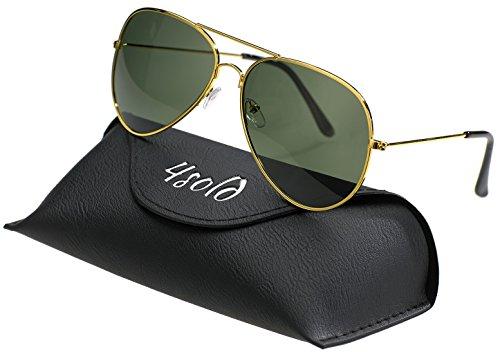 4sold Herren Damen Kinder Sonnenbrille Polarisierte UV 400 Schutz Metall Box (Kinder, Schwarzes Gold)