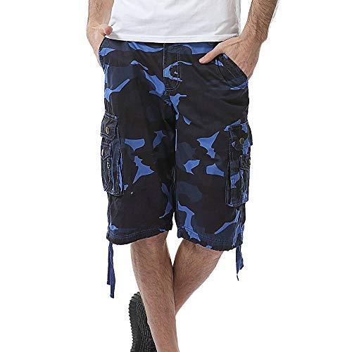 JiaMeng Pantalones Cortos de Carga de pantalón Corto de Bolsillo de Trabajo de Playa de Camuflaje Informal Pantalón Vintage Shorts Pantalones Cortos