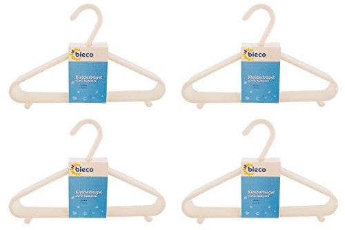 cintres BIECO cintres pour bébé bébé enfant Hanger cintres en plastique pour la longueur de l'armoire de stockage garde-robe 29.5cm, 32 pièces, blanc, étroit, ArtN 90032147