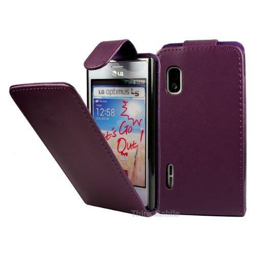 LG Optimus L5 E610 Premium Leder Flip Case - Violett Pu Leder Schutz Hülle Tasche Etui Flip Case Für LG Optimus L5 E610 - thinkmobile Lg Optimus Hülle
