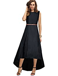 4790fd9917e Belomoda Premium Taffeta Silk Fabric Sleeveless Solid Casual Partywear  Stitched Long Gown For Women