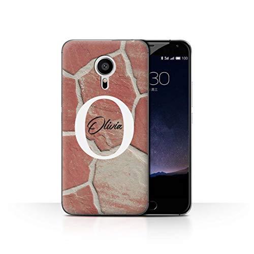 eSwish Personalisiert Individuell Mode Marmor Stein Hülle für Meizu Pro 5 / Rot Pastell Steinplatte Design/Initiale/Name/Text Schutzhülle/Case/Etui