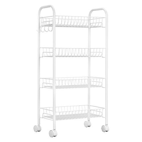 Langria 4-tier carrello rotante per magazzino in metallo con i pannelli pp di cestini e ganci laterali capacità di carico 25 kg,adatto per cucina casa da bagno (bianco)